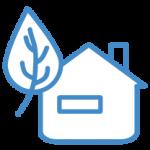 ikona ekologii - dom z liściem
