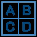 ikona litery a,b,c,d w segmentach w kwadracie